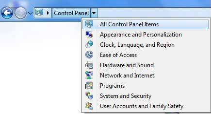 All control panels items