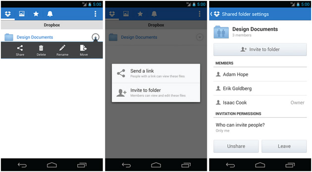 dropbox-android-shared-folders