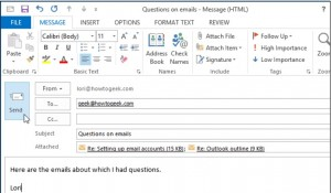 فوروارد چند ایمیل به یک آدرس در Outlook 2013