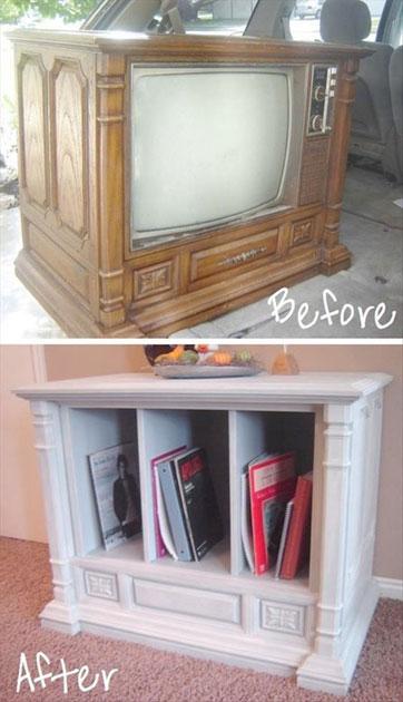 ایده تبدیل تلویزیون های قدیمی به کتابخانه