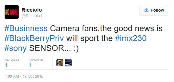 گوشی بلک بری پریو سنسور دوربین 21 مگاپیکسلی سونی خواهد داشت