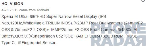 مشخصات فنی Sony Xperia M Ultra