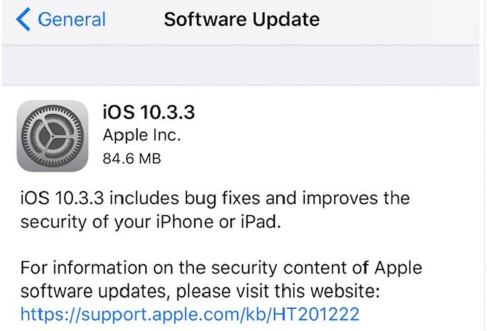 به روزرسانی iOS 10.3.3 از امروز شروع میشود