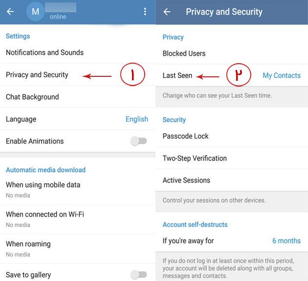 مخفی کردن وضعیت انلاین تلگرام