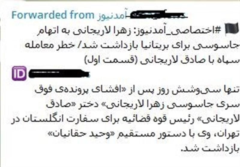 جعل خبر در مورد زهرا لاریجانی