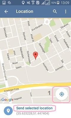 آموزش ارسال موقعیت جغرافیایی در تلگرام
