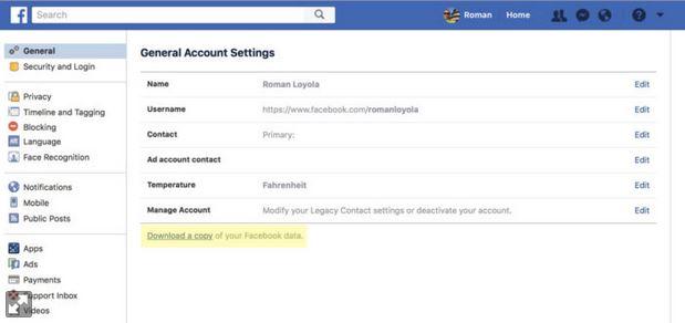 چگونه اطلاعات اکانت Facebook خود را دانلود کنیم