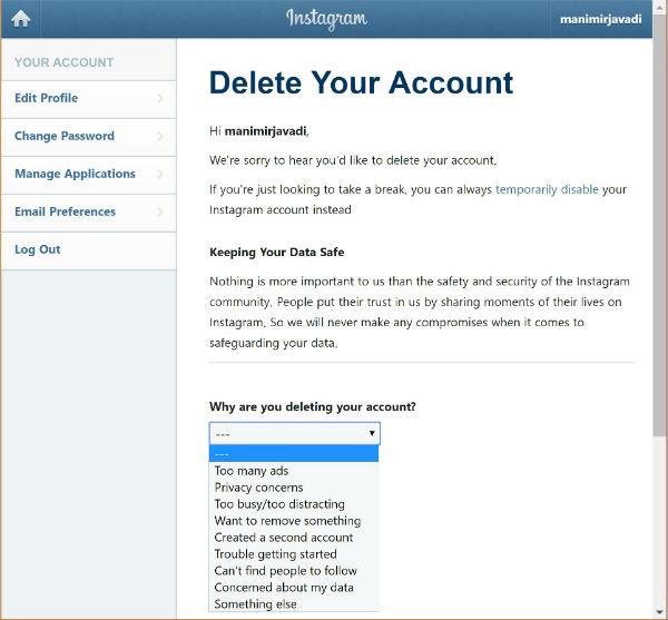 نحوه غیرفعالسازی حساب کاربری اینستاگرام