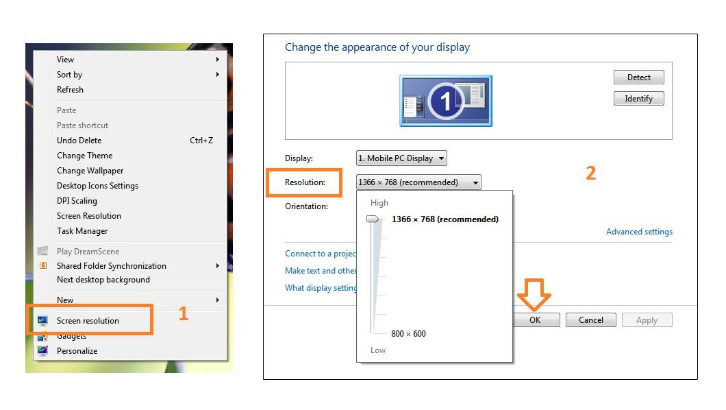 تنظیم اندازه صفحه نمایش در ویندوز 7 و 8