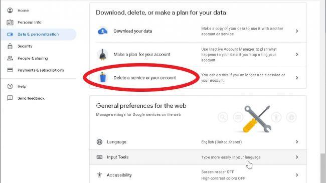 حذف حساب کاربری در جیمیل