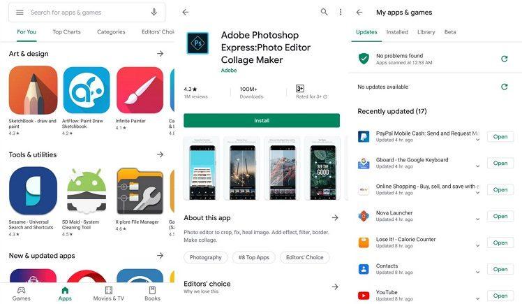 رابط کاربری جدید فروشگاه گوگل پلی