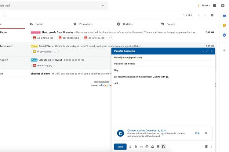 گوگل حالت محرمانه Gmail را برای همه در ماه ژوئن توزیع خواهد کرد