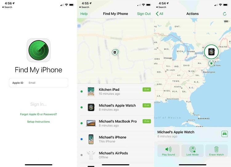 ردیابی آیفون با استفاده از اپل واچ و وب سایت آی کلود