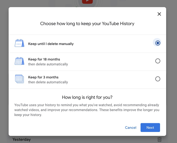 حذف سابقه یوتیوب از برنامه موبایل به طور خودکار