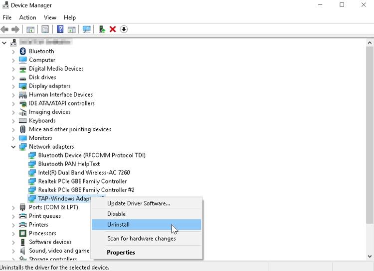 حذف و نصب مجدد درایور شبکه