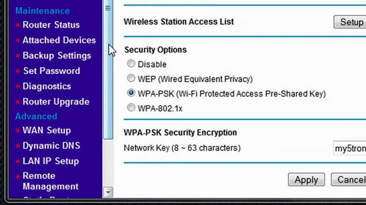در اینجا لیستی از پروتکل های رمزنگاری موجود در اکثر روترهای مدرن تولید شده پس از سال 2006 ارائه شده است. آنها به ترتیب از امن ترین تا کمترین امنیت در نظر گرفته شده اند :