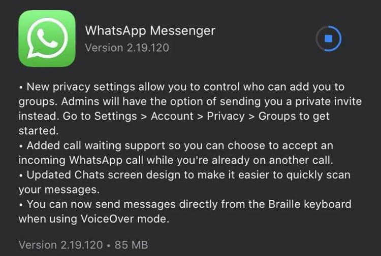 واتساپ برای پشتیبانی از انتظار تماس در iOS، تنظیمات حریم خصوصی جدید دریافت می کند