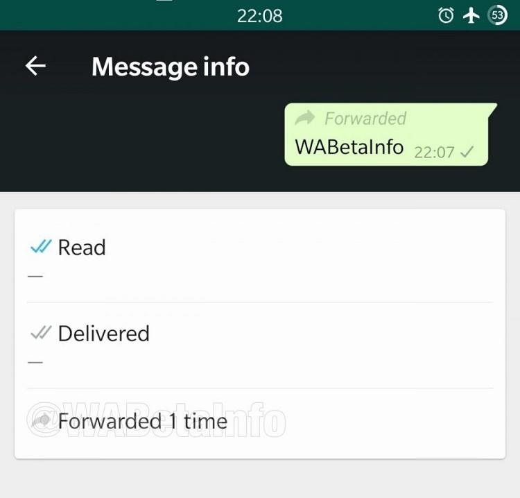 واتساپ در آپدیت جدید نشان میدهد که پیام هایتان چند بار فوروارد شده است