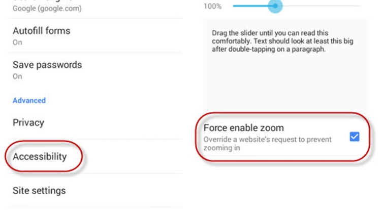 Force Zoom کروم را در اندروید فعال کنید