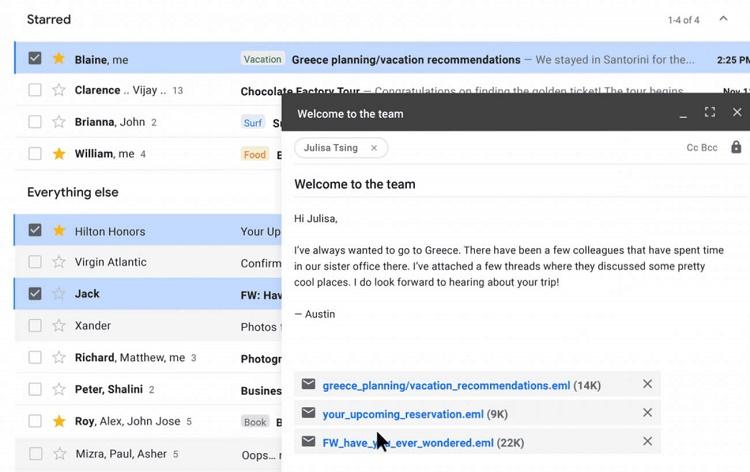 آپدیت جدید جیمیل به کاربران امکان ارسال ایمیل به عنوان پیوست را می دهد